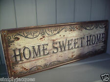 Chic vintage shabby marron plaque métallique home sweet home estampé Porte / Mur SIGNE