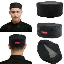 3pcs Mesh Top Skull Cap Catering Chefs Kitchen Hat with Adjustable Strap Black