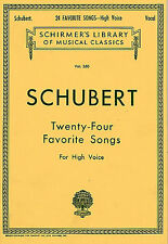 Schubert Twenty-Four Favorite Songs For High Voice Learn Vocal Music Book