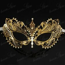 Luxury Light Metal Venetian Masquerade Mask for Women M7117 [Gold]