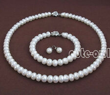 8-9mm Natural White Freshwater Pearl Necklace Bracelet Earrings Jewelry Set AAA+