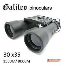 Galileo 30x35 Folding Roof Binoculars Black Day Night Compact Telescope sports