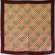 """BOLD HOUNDSTOOTH CHECK PRINT 1970S VINTAGE BEIGE 35"""" SQUARE SCARF"""