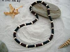 10 NEW SURFER BLACK RED ELASTICATED NECKLACE WOOD BEADS WHOLESALE / n241SRky