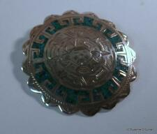 Mexican Sterling Silver & Turquoise Large Sundial Calender Pin Brooch Pendant