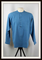 BLUE ~ COLLARLESS LONG SLEEVE GRANDAD SHIRT ~ 100% COTTON ~ S, M, L, XL, XXL