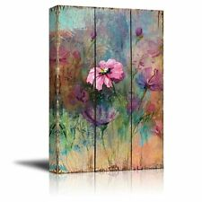 Vintage Pink Watercolor Flowers on Wooden Panels - Canvas Art - 16x24 inches