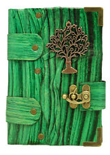 Tree Pendant Green Leather Journal , Notebook , Diary , Sketchbook Vin