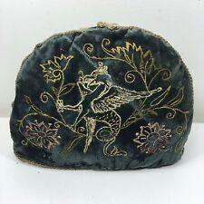 """Antiguo Acolchado Terciopelo cubre tetera con hilo de oro Pegasus trabajo en metal - 12"""" X 9.5"""""""