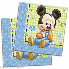 20 Disney Blue Baby Mickey Mouse Party 2ply Disposable 33cm Paper Napkins