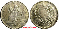 "Guatemala Silver 1899 1 Real Nice Details   "".500/.550"" KM# 174"