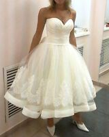 New White Ivory Lace Short Wedding Dress Bridal Gown Size 6 8 10 12 14 16 18