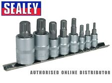 "Sealey 8 Piece Spline Socket Bit Set  1/4"", 3/8"" & 1/2""Square Drive AK6214"