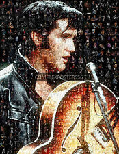 LARGE ORIGINAL MOSAIC PHOTO POSTER IN VARIOUS COLOURS OF ELVIS PRESLEY No 4