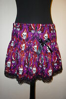 SKULL FLAMES RARA SWING SKIRT HALLOWEEN PARTY SIZE 8 - 26 CUSTOM MADE NEW GOTHIC