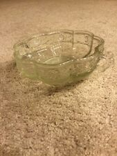 Clear Glass Rose Handled Bowl Candy Dish