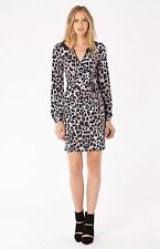 Hale Bob Jersey Wrap Dress Long Sleeve Animal Printed XS NWT $118 4ELL6526
