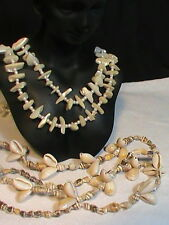 2 Sea Shell Necklaces one faux pearl and broken shells and Conk Cowrie shells