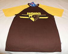 Hawthorn Hawks Logo AFL Boys Brown Yellow Printed T Shirt Size 14 New