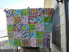 BABY RAG QUILT SESAME STREET PRINTS FRONT AND SOLIDS ON BACK