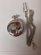Fiat 500 ref64 Pewter Effect Car on a polished Silver Case Pocket Watch