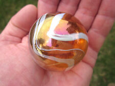 "TOE BREAKER 50mm (2"") JELLYFISH Pink/White Fairy Marbles glass ball HUGE Swirl"
