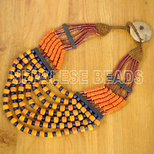 "UN1638 Naga Orange Blue Glass Beads Necklace 35"" India Nepal Ethnic Tribal"