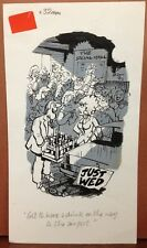 ANDY SAUNDERS Original Daily Comic Strip Art Daily Mirror UK Newlyweds Drinking