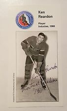 KEN REARDON MONTREAL CANADIENS SIGNED AUTOGRAPHED HOCKEY HOF LARGE CARD