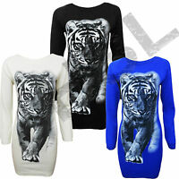 Women Ladies Tiger Lion Print Knitted Jumper Top Body con Dress size 8 10 12 14