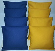 SET OF 8 ALL WEATHER ROYAL BLUE & YELLOW CORNHOLE BEAN BAGS FREE SHIPPING!