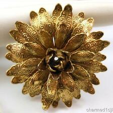"Vtg Estate Antique Gold Embossed Flower Brooch Pin Tiered Layered Petals 1 7/8""D"