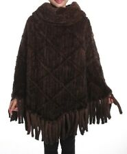 New Knitted Mink Fur Poncho Shawl Cape