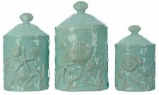 Canister Set 3 Piece Sea Shell Coastal Turquoise Kitchen Counter Top Storage