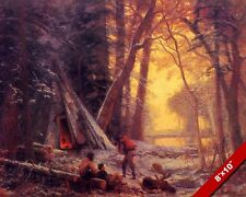 MOOSE HUNTING CAMP AT DUSK MEN'S OFFICE DEN OIL PAINTING ART PRINT REAL CANVAS