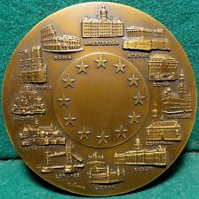 EUROPEAN MONUMENTS - EEC / EUROPE MAP, PLANE 88mm BRONZE MEDAL