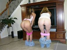 """""""TWO CUTE BABES WITH THEIR PANTIES DOWN IN LIVING ROOM""""  8 X 10 GLOSSY PHOTOS"""