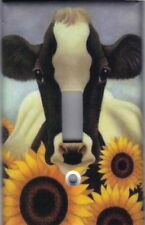 COW WITH SUNFLOWERS - COW HOME WALL DECOR LIGHT SWITCH PLATE COVER