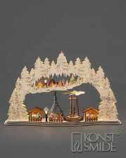 Christmas Decoration Wooden Warm White LED Village Snow Market Scene Silhouette