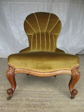 Victorian Walnut button and rope upholstered spoon back nursing chair (ref 321)