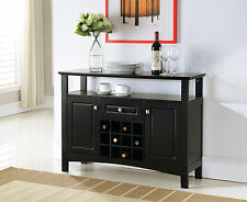 Kings Brand Black Finish Wood Wine Rack Buffet Cabinet Storage Console Table