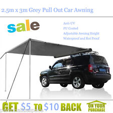2.5m x 3m Grey Pull Out Car Awning Outdoor Living Tent & Shades Canopies