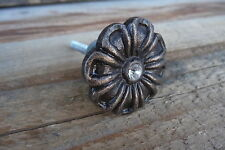 CHOOSE Qty =Antique Bronze Metal FLOWER with Rhinestone Center Knob= Drawer Pull