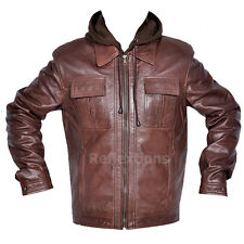Mens Hood Leather Jacket Fashion Trendy Removable Hood Soft Winter Lamb Jacket