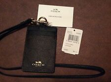 COACH Lanyard ID Badge Holder Case Signature Credit Card Brown/Black Free Ship