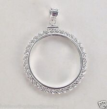 Coin Bezel Sacagawea Dollar Rope Frame Sterling Silver Soldered Bails