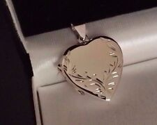 Ladies Real 925 Sterling Silver Large Photo Locket Love Heart Urn Pendant Gift