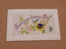 WW1 EMBROIDERED SILK POSTCARD From Your Loving Son - Vintage - Fast Dispatch
