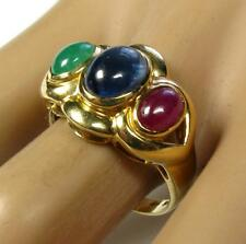 Estate 3.70CT Blue Sapphire Ruby Emerald cabochons Cocktail Ring 14K Yellow Gold