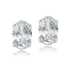 Sterling Silver 1.50ct White Zircon 6x4 Oval Stud Earrings
